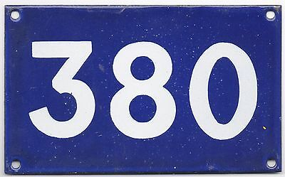 Old Australian used house number 380 door gate enamel metal sign in French blue