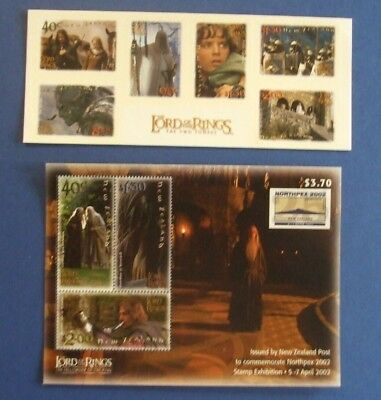 NEW ZEALAND 3 STAMPS MINI SHEETS & SET of 6 LORD OF THE RINGS ISSUES c.2003 MNH