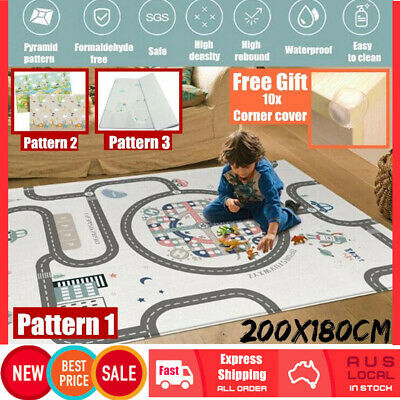 200x180cm Thick Crawling Play Mat Game Rug Pat Children Baby Carpet Floorcover