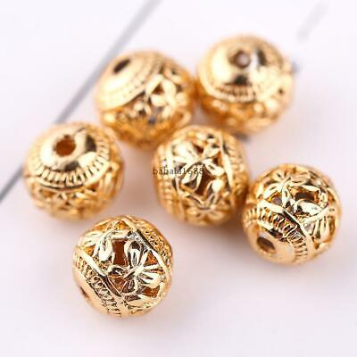 10pcs 8mm Hollow Round Spacer Beads Copper Butterfly Shape DIY Jewelry Making