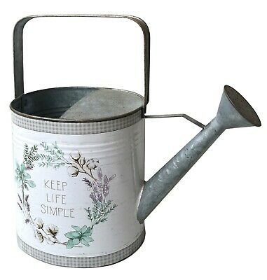 "All Chic ""Keep Life Simple"" Retro Watering Can Jug Planter Galvanized UK"