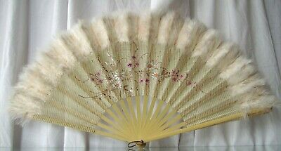 Antique Hand Fan Hand Painted Net With Ostrich Feathers Floral