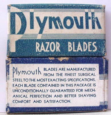 Vintage PLYMOUTH  FULL BOX DE  Safety Razor Blades