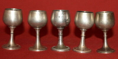 Antique Set 5 German WMF Silverplated Alpacca Small Goblets