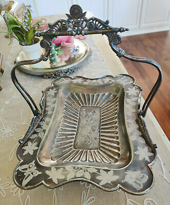 Victorian Meriden Aesthetic Silver Plate Brides Basket Birds Butterfly Compote