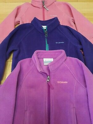 Columbia Fleece Zip Jackets Girls Toddler 2T Lot of 3 Purple & Pink COLUMBIA