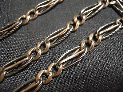 Antique Art Deco Sterling Silver  BLACK ENAMEL niello Pocket Watch Chain - 33cm