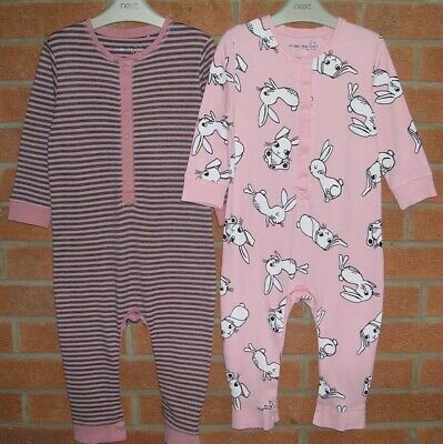 NEXT Girls Pink Cotton All-in-One Pyjamas Bundle Age 2-3 98cm Rabbits Bunnies