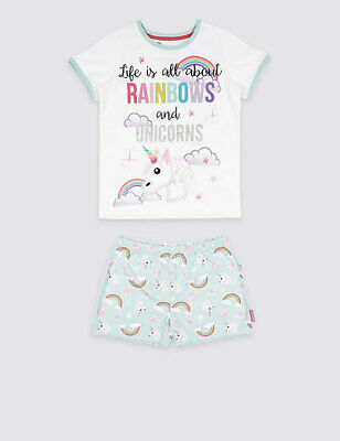 GIRLS PYJAMAS Emoji™ Printed Short Pyjamas m&s unicorn and rainbow age 14/15