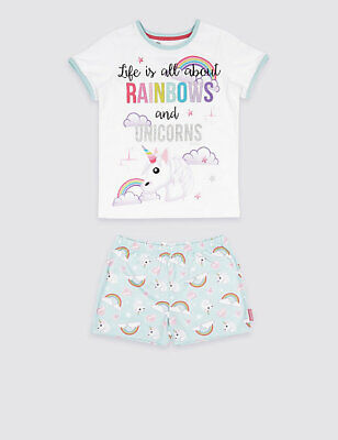 GIRLS PYJAMAS Emoji™ Printed Short Pyjamas m&s unicorn and rainbow age 15/16