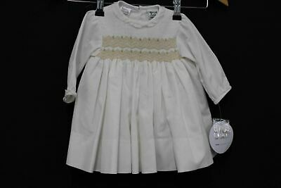 SARAH LOUISE 011297-1 Girls White Long Sleeve Button Up Dress Size 6M NEW
