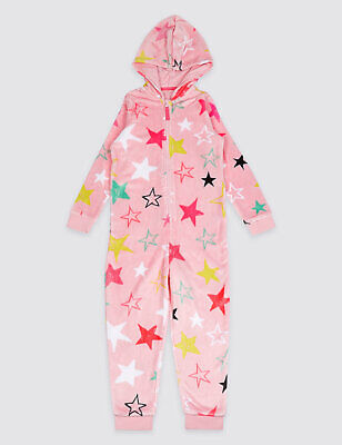 Marks & Spencer Star Print Fleece All In One Sleep Suit Nightwear Age 15 / 16