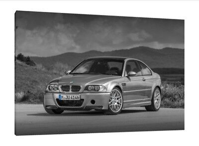 BMW E46 M3 CSL - 30x20 Inch Canvas - Framed Picture Print Wall Art