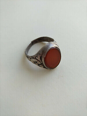 Antique Norwegian 19th Silver Ring with Red Stone Mark 830S