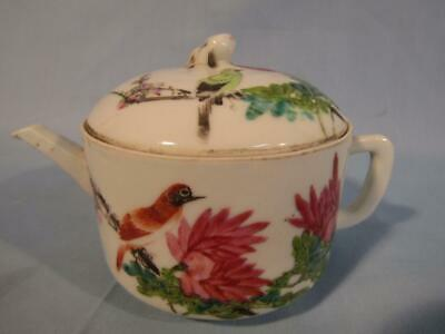 Antique Chinese Small Porcelain Famille Rose Teapot W/Birds - Signed