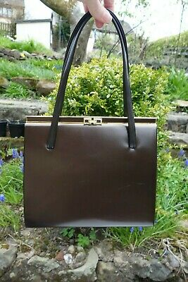 Vintage Brown Patent Leather Lanca Kelly Bag/Handbag 1950's/60s Elbief Frame/Mod