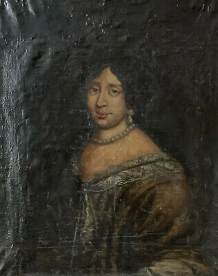 18Th Century French Large Portrait Of Noble Lady - Finely Dressed - To Restore