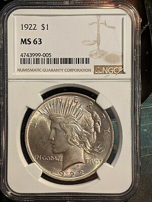 MS-63 1923 Peace Silver Dollar Graded NGC - Choice BU Unc