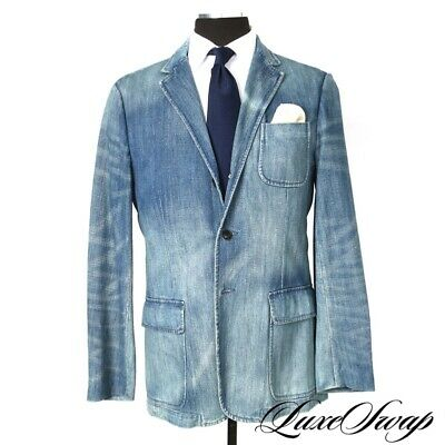 RARE Polo Ralph Lauren Washed Denim Chambray Faded Unstuctured Jacket Blazer NR