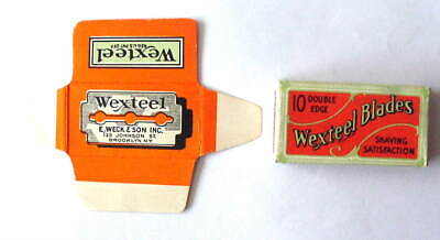 Vintage  WEXTEEL  FULL BOX  OF 10 DE  Safety Razor Blades