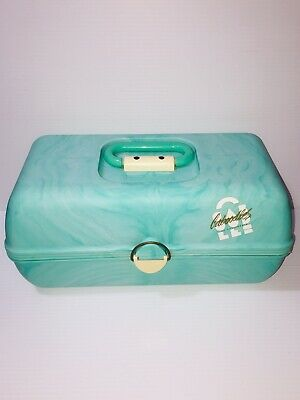 Vintage Caboodles Large 3 Tier Makeup Cosmetic Travel Case Teal Turquoise Marble