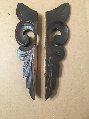 Pair Of Antique Carved Wood Ears Side Trim Anglo American Wall Clock Jerome Era