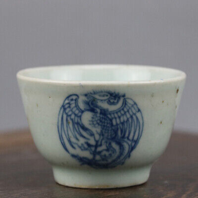 China old hand-carved porcelain Blue & white phoenix pattern Kung fu tea cup b01