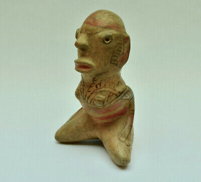 Authentic Pre Columbian Costa Rican Polychrome Pottery Figure Ancient Artifact