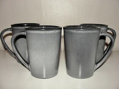 New 4 Anfora Denali Gray Glaze Ceramic Coffe Tea 12 Oz Mugs Cups