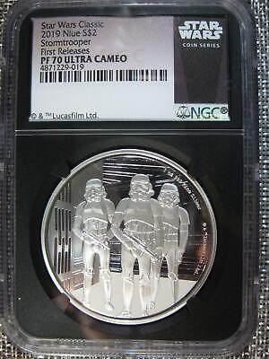 "2019 Silver Star Wars Proof ""Stormtrooper"" Ngc Pf 70 Ucam First Releases Rare"
