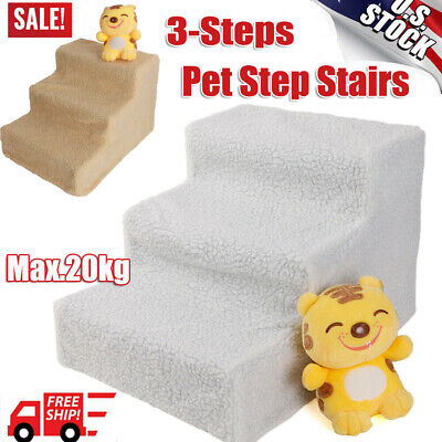 Portable Pet Stairs 3 Step Climb Dog Ladder with Cover - Cat Dog Ramp Step Stair