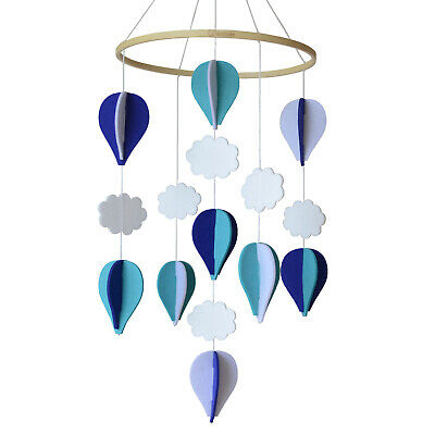 EcoCubs Handmade Felt Baby Mobile-Hot Air Balloons & Clouds. Navy Blue/Turquoise