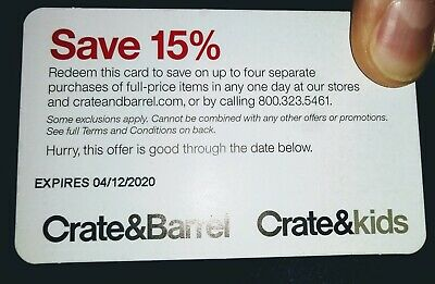 Crate & Barrel 15% Off 4 Separate Purchases SENT DIGITALLY ONLY - SENT FAST!
