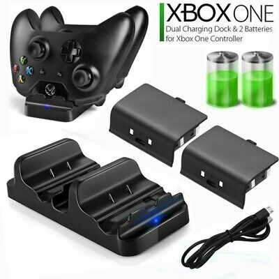 Dual Charging Dock Station Controller Charger w/2 Rechargeable Battery XBOX ONE