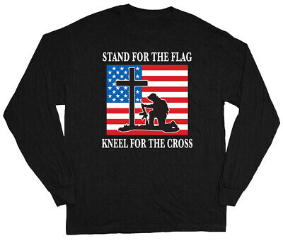 American Flag Pride T-shirt Stand for the flag Kneel for the Cross Military Tee