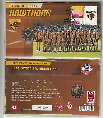 2014 AFL Premiers: Hawthorn $1.00 coin PNC. Issue 15. L/E 5000. Cost $24.95.