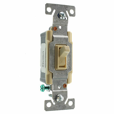 Hubbell Rs115Ilcz Lighted Toggle Switch, 1-Pole, Grounding, 15A, 120V, Ivory