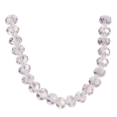 White AB Faceted Crystal Rondelle Glass Beads Wholesale Bulk DIY Loose 3-18mm