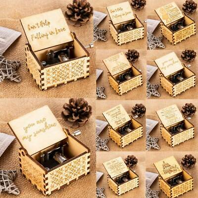 UK Wooden Music Box Hand Crank Engraved Musical Toys Kids Birthday Xmas Gifts