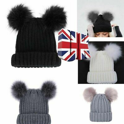 Women Winter Knitted Beanie Hat Mother and Kids Cap Fluffy Double Fur Bobble Pom