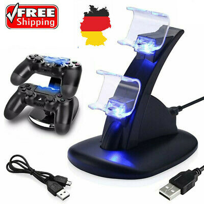 LED Dual Controller Ladegerät Dock Station Stand Lade Für Playstation 4 PS4 NEU