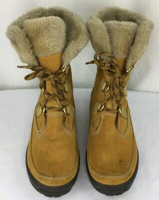 TIMBERLAND MUKLUK LACE up CHESTNUT BROWN BOOTS faux fur top