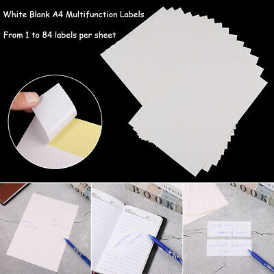Address Labels White A4 Sheets Sticky Self Adhesive for Inkjet / Laser Printer!