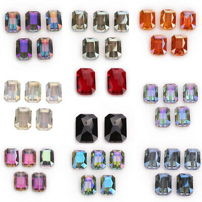 Rectangle Glass Square Faceted Beads Crystal 15pcs Necklace Loose Lots 18mm