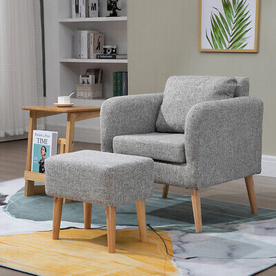 Fabric Occasional Accent Chair With Footstool Modern Grey Lounge Tub Armchair UK