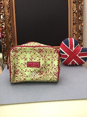 Ted Baker Bodywear Cosmetic/Make Up/Travel Bag Patterned Red & Yellow VGC