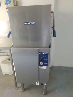 Washtech Commercial Kitchen Pass through Dishwasher with stainless steel bench's