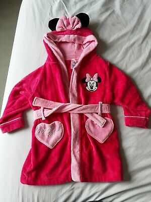 Pre-owned Girls Disney Pink Minnie Mouse Dressing Gown For 3 Years