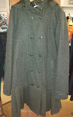Marks And Spencers Gorgeous Girls Dark Grey Wool Feel Coat Age 11-12 Yrs Vgc