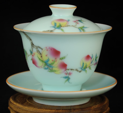 china old Famille-rose porcelain hand painted peach teacup Qian Long Qing /Db01